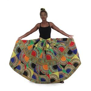 Dresses & Skirts - African Multi Traditional Print Maxi Skirt w/Scarf